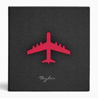Crimson Red Airplane 3 Ring Binder