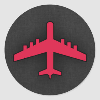Crimson Red Airplane Stickers