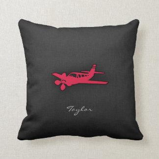 Crimson Red Airplane Throw Pillow