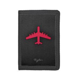 Crimson Red Airplane Tri-fold Wallets