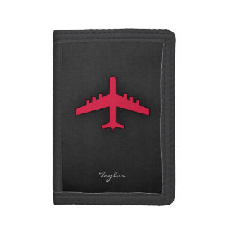 Crimson Red Airplane Tri-fold Wallets