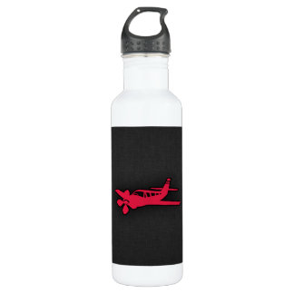 Crimson Red Airplane Water Bottle