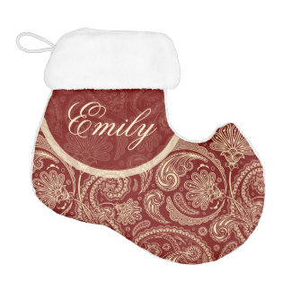 Crimson Red And Beige Creme Vintage Paisley Elf Christmas Stocking