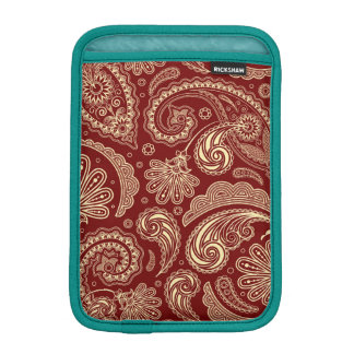 Crimson Red And Beige Creme Vintage Paisley iPad Mini Sleeves