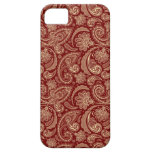 Crimson Red And Beige Creme Vintage Paisley iPhone 5 Covers