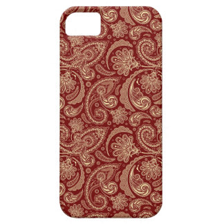 Crimson Red And Beige Creme Vintage Paisley iPhone SE/5/5s Case