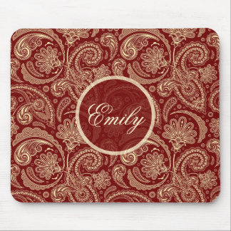 Crimson Red And Beige Creme Vintage Paisley Mouse Pad