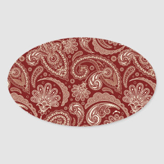 Crimson Red And Beige Creme Vintage Paisley Oval Sticker
