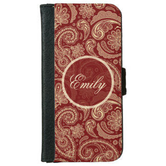 Crimson Red And Beige Creme Vintage Paisley iPhone 6 Wallet Case