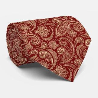 Crimson Red And Beige Creme Vintage Paisley Tie