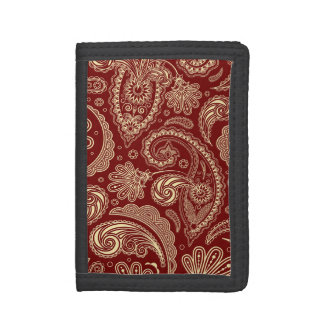 Crimson Red And Beige Creme Vintage Paisley Wallets