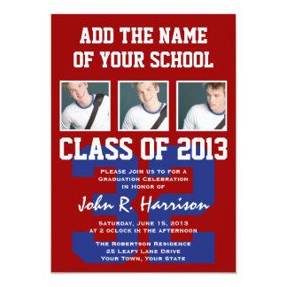 Crimson Red and Blue Athletes Photo Gradutaion 5x7 Paper Invitation Card