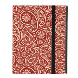 Crimson Red And Cream Vintage Floral Paisley iPad Cases
