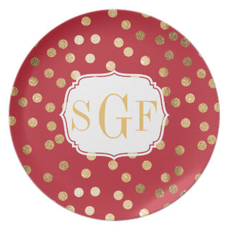 Crimson Red and Gold Glitter Dots Monogram Plate