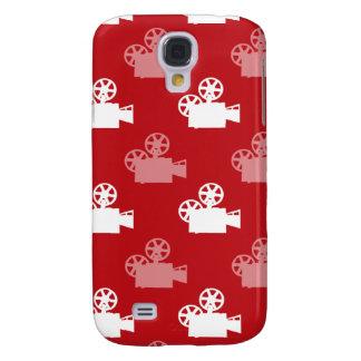 Crimson Red and White Movie Camera Galaxy S4 Case