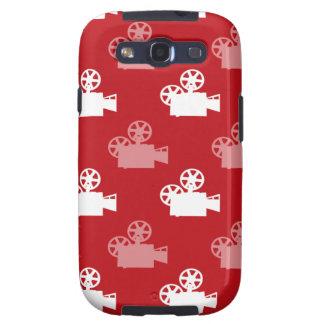 Crimson Red and White Movie Camera Galaxy S3 Cover