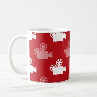 Crimson Red and White Movie Camera Mugs