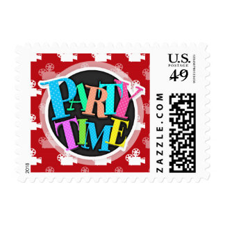 Crimson Red and White Movie Camera Stamps