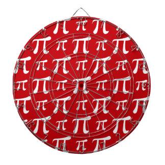 Crimson Red and White Pi Symbol Dart Boards