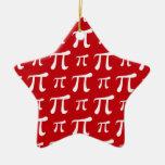 Crimson Red and White Pi Symbol Christmas Tree Ornaments