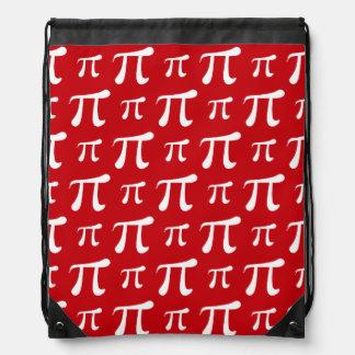 Crimson Red and White Pi Symbol Drawstring Bags