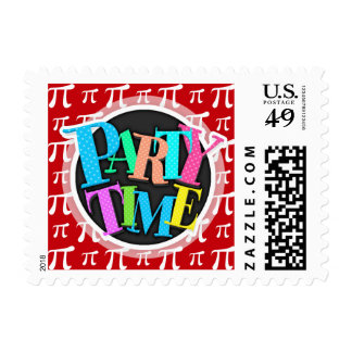 Crimson Red and White Pi Symbol Postage Stamps