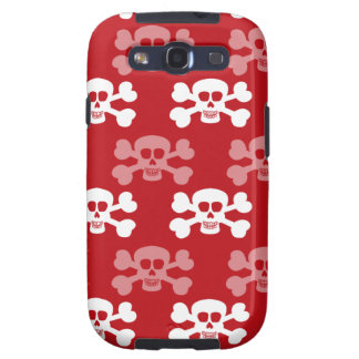 Crimson Red and White Skull and Cross Bones Galaxy SIII Covers