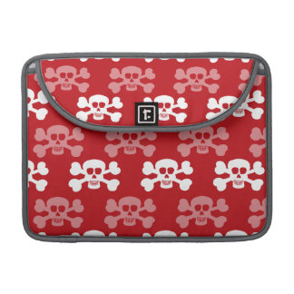 Crimson Red and White Skull and Cross Bones MacBook Pro Sleeve