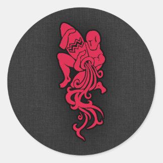 Crimson Red Aquarius Classic Round Sticker