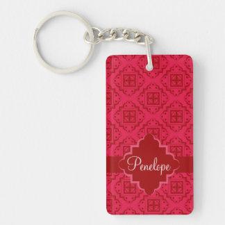 Crimson Red Arabesque Moroccan Graphic Double-Sided Rectangular Acrylic Keychain