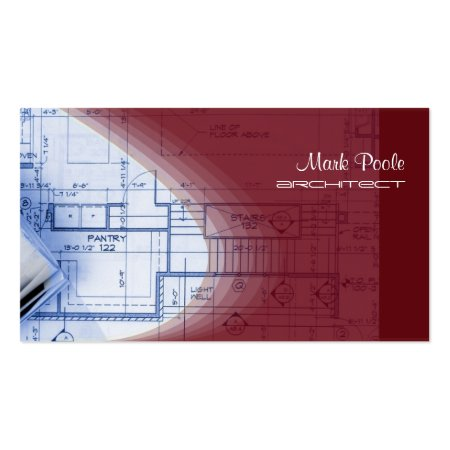 Stylish Red Blueprints Design Architect Business Cards