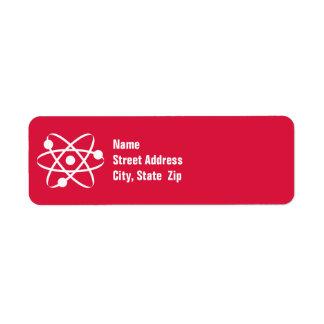 Crimson Red Atom Label
