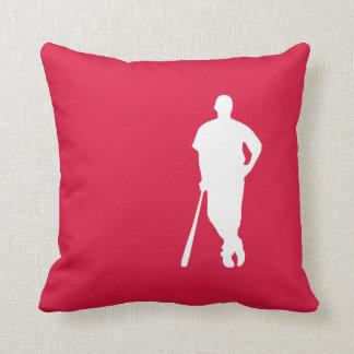 Crimson Red Baseball Throw Pillow