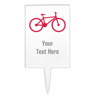 Crimson Red Bicycle Cake Toppers