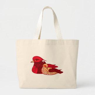 Crimson Red Birds Jumbo Tote Bag