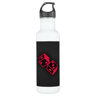Crimson Red Casino Dice Stainless Steel Water Bottle