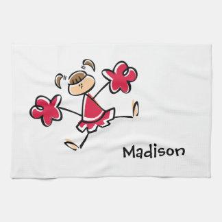 Crimson Red Cheerleader Kitchen Towel