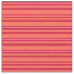 [ Thumbnail: Crimson & Red Colored Stripes Pattern Fabric ]