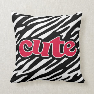 Crimson Red Cute Zebra Throw Pillows