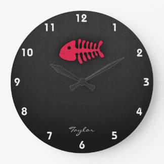 Crimson Red Fish Bones Large Clock