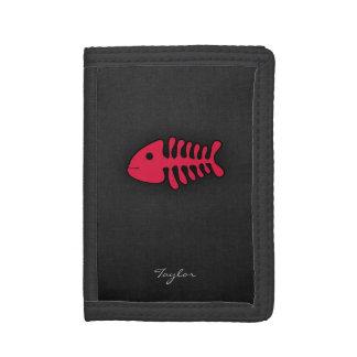 Crimson Red Fish Bones Trifold Wallet