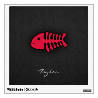 Crimson Red Fish Bones Wall Sticker