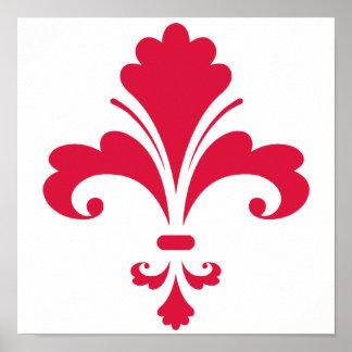 Crimson Red Fleur de lis Poster