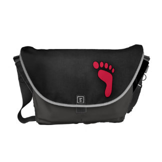 Crimson Red Footprint Courier Bags