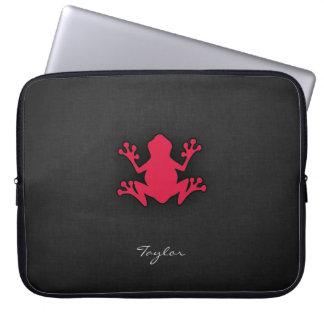 Crimson Red Frog Laptop Sleeves