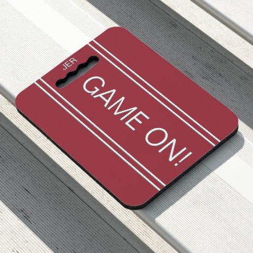 Crimson Red GAME ON Quote Monogram Stadium Sport Seat Cushion
