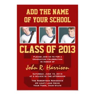 Crimson Red Gold Athletic Student Graduation 5x7 Paper Invitation Card