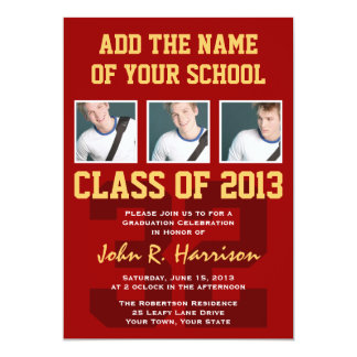 Crimson Red Gold Athletic Student Graduation Card