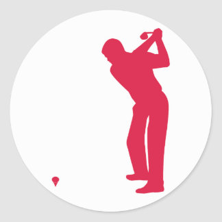 Crimson Red Golf Classic Round Sticker