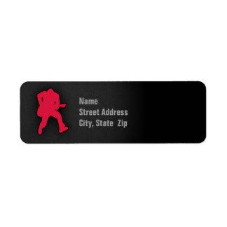 Crimson Red Guitar Player Label
